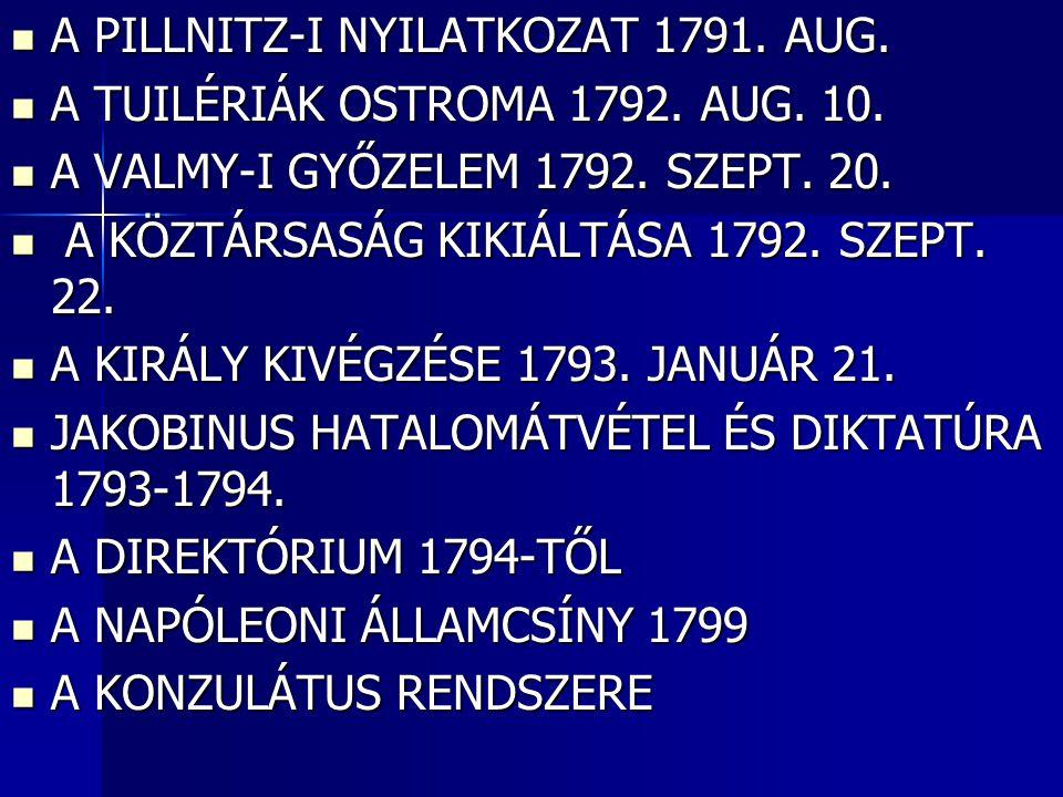 A PILLNITZ-I NYILATKOZAT 1791. AUG. A PILLNITZ-I NYILATKOZAT 1791. AUG. A TUILÉRIÁK OSTROMA 1792. AUG. 10. A TUILÉRIÁK OSTROMA 1792. AUG. 10. A VALMY-