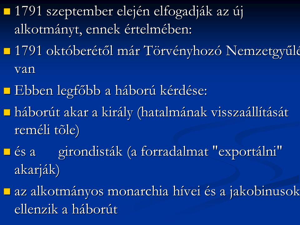 1791 szeptember elején elfogadják az új alkotmányt, ennek értelmében: 1791 szeptember elején elfogadják az új alkotmányt, ennek értelmében: 1791 októb