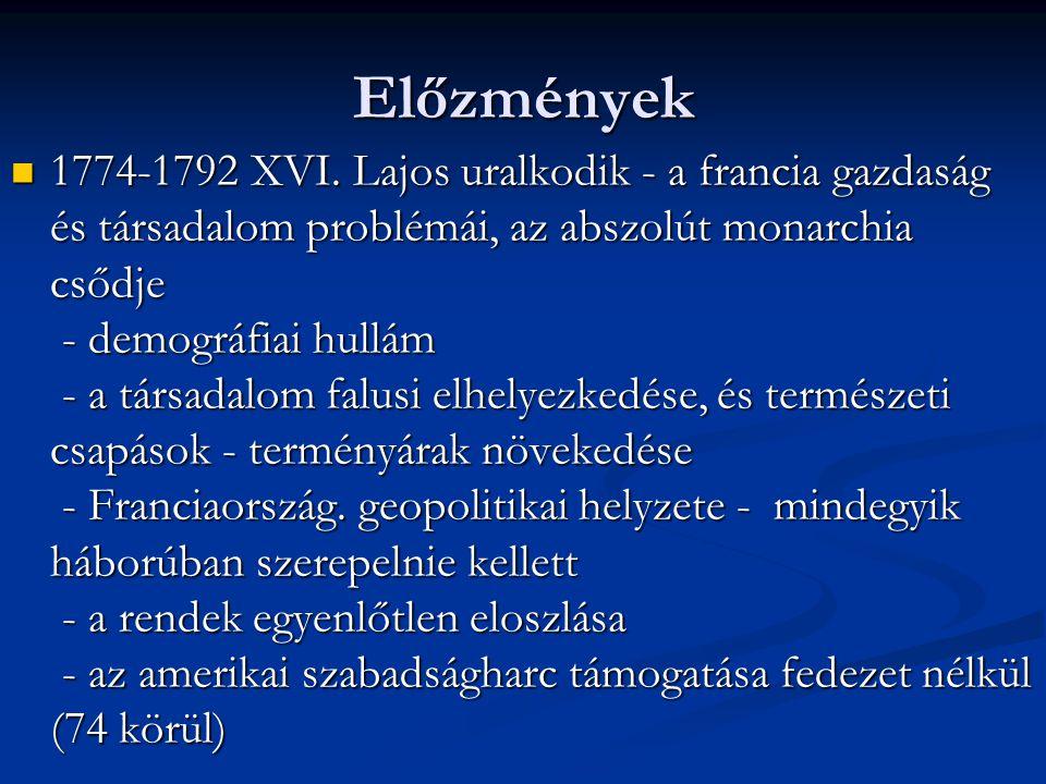 Előzmények 1774-1792 XVI. Lajos uralkodik - a francia gazdaság és társadalom problémái, az abszolút monarchia csődje - demográfiai hullám - a társadal