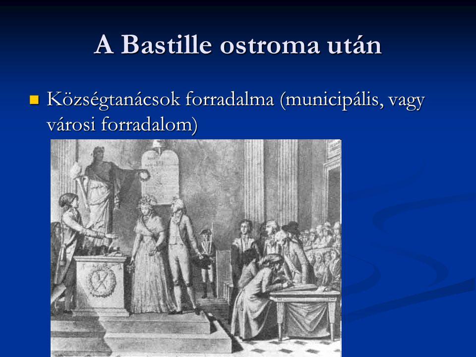A Bastille ostroma után Községtanácsok forradalma (municipális, vagy városi forradalom) Községtanácsok forradalma (municipális, vagy városi forradalom