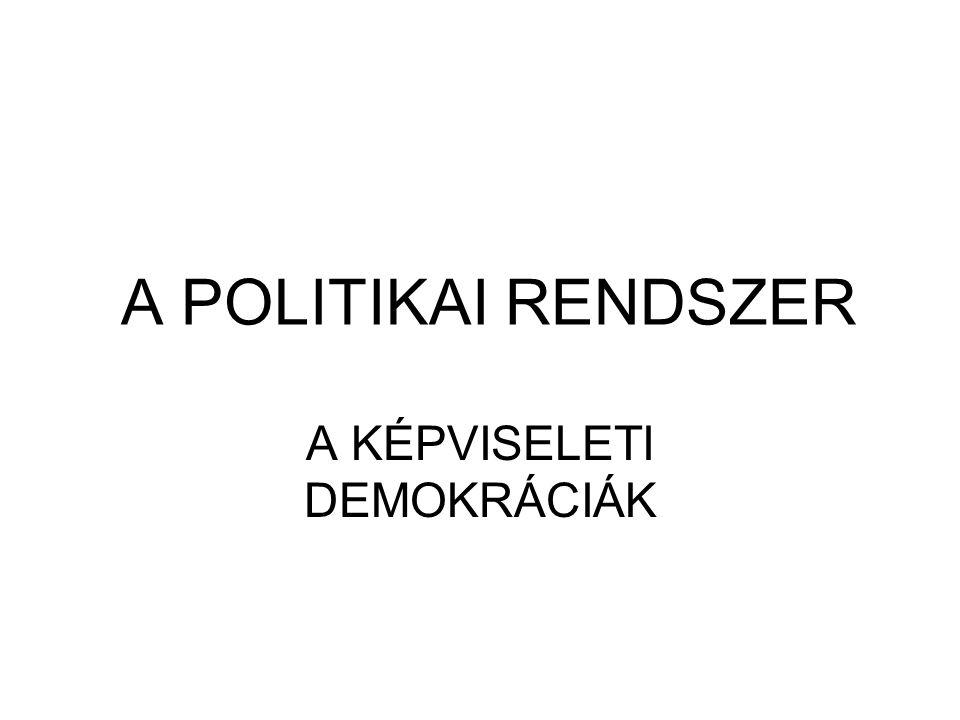 A POLITIKAI RENDSZER A KÉPVISELETI DEMOKRÁCIÁK