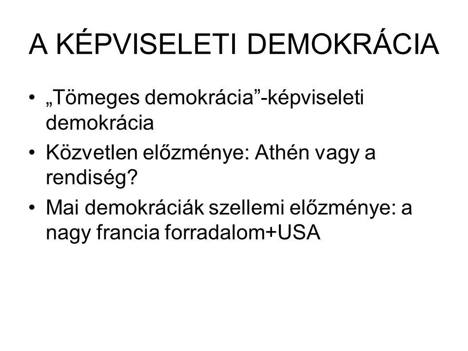 """A KÉPVISELETI DEMOKRÁCIA """"Tömeges demokrácia""""-képviseleti demokrácia Közvetlen előzménye: Athén vagy a rendiség? Mai demokráciák szellemi előzménye: a"""