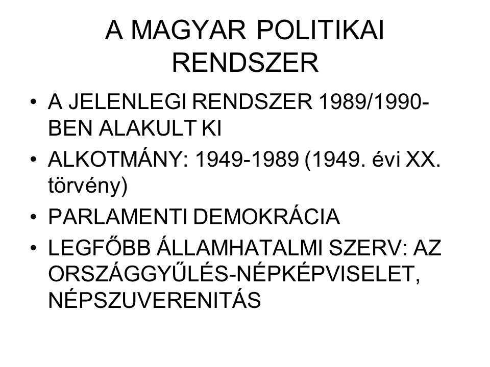 A MAGYAR POLITIKAI RENDSZER A JELENLEGI RENDSZER 1989/1990- BEN ALAKULT KI ALKOTMÁNY: 1949-1989 (1949. évi XX. törvény) PARLAMENTI DEMOKRÁCIA LEGFŐBB
