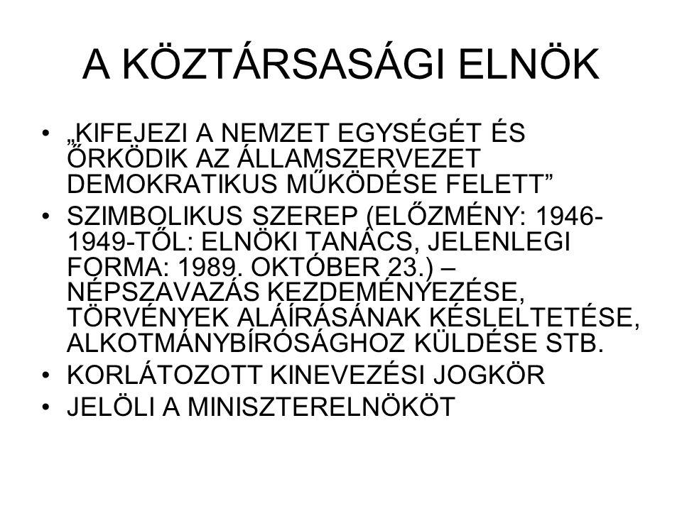 """A KÖZTÁRSASÁGI ELNÖK """"KIFEJEZI A NEMZET EGYSÉGÉT ÉS ŐRKÖDIK AZ ÁLLAMSZERVEZET DEMOKRATIKUS MŰKÖDÉSE FELETT"""" SZIMBOLIKUS SZEREP (ELŐZMÉNY: 1946- 1949-T"""