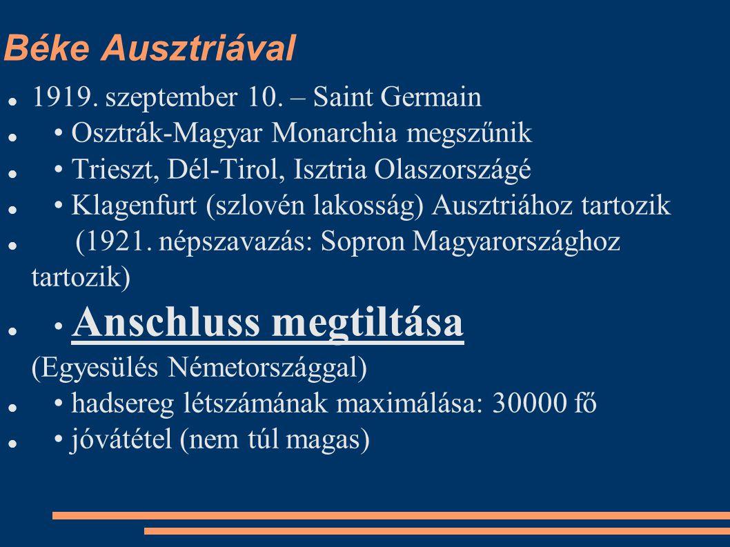 Béke Ausztriával 1919. szeptember 10. – Saint Germain Osztrák-Magyar Monarchia megszűnik Trieszt, Dél-Tirol, Isztria Olaszországé Klagenfurt (szlovén