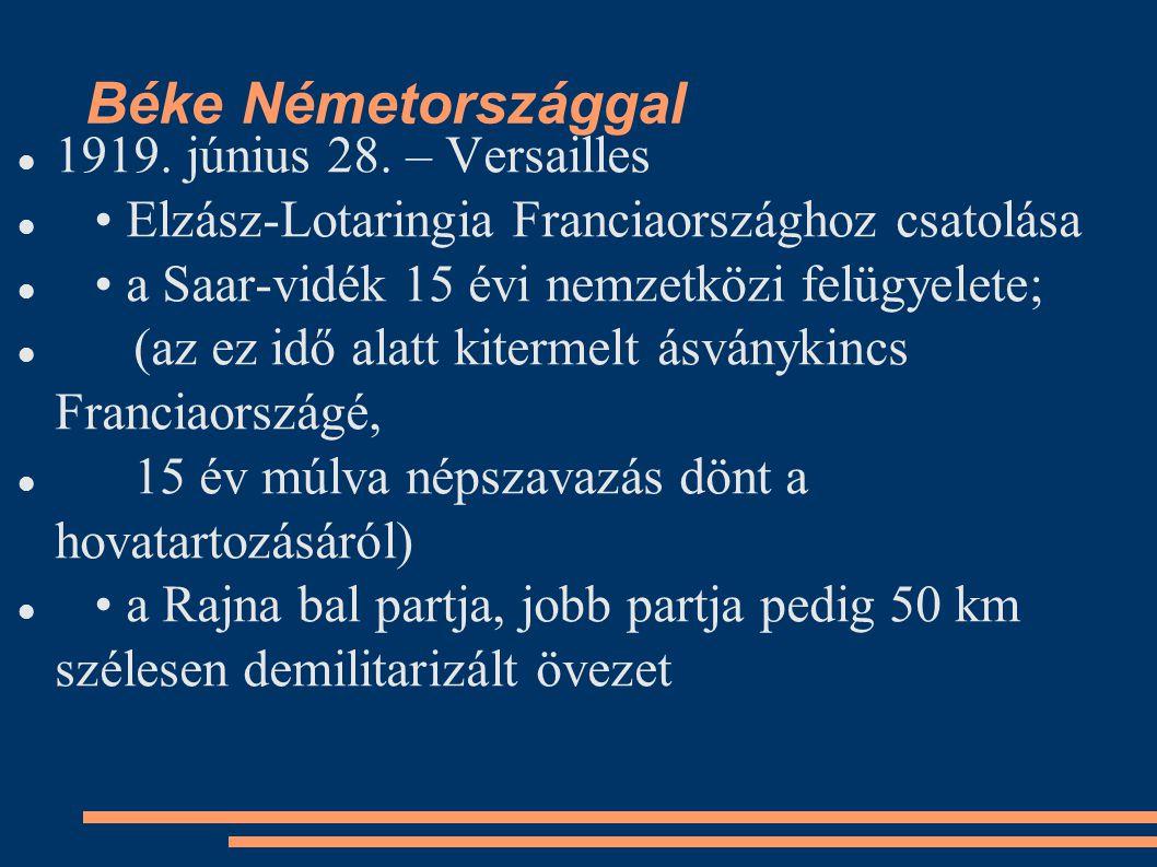 Gdansk szabad város Kelet-Poroszország és Németország elválasztása Lengyelország megkapja Pomerániát a hadsereg létszámának maximálása: 100000 fő; nem lehet általános sorozás hadiflotta átadása gyarmatok elvesztése jóvátétel [400 milliárd márka (1920)] Schleswig-Holstein északi része Dániához tartozik