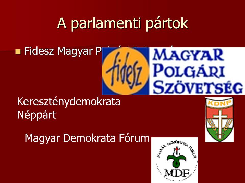 A parlamenti pártok Fidesz Magyar Polgári Szövetség Fidesz Magyar Polgári Szövetség Kereszténydemokrata Néppárt Magyar Demokrata Fórum