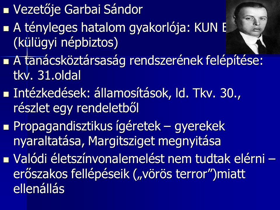 Vezetője Garbai Sándor Vezetője Garbai Sándor A tényleges hatalom gyakorlója: KUN BÉLA (külügyi népbiztos) A tényleges hatalom gyakorlója: KUN BÉLA (k