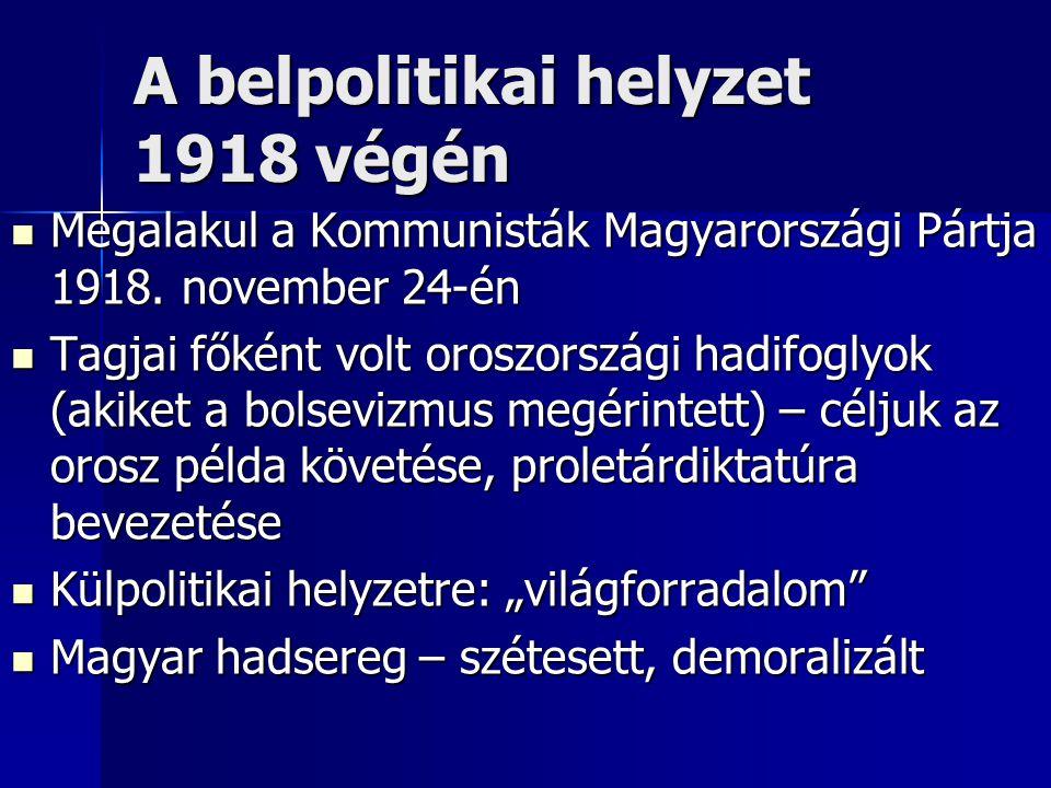 A belpolitikai helyzet 1918 végén Megalakul a Kommunisták Magyarországi Pártja 1918. november 24-én Megalakul a Kommunisták Magyarországi Pártja 1918.