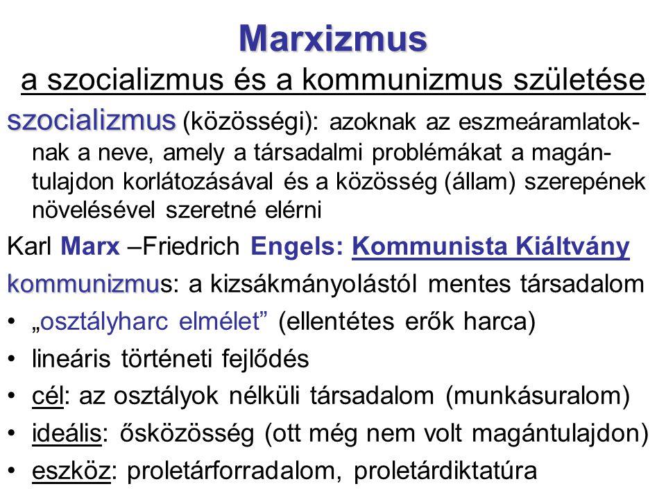 Marxizmus Marxizmus a szocializmus és a kommunizmus születése szocializmus szocializmus (közösségi): azoknak az eszmeáramlatok- nak a neve, amely a tá