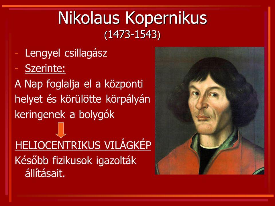 Nikolaus Kopernikus ( 1473-1543 ) -Lengyel csillagász -Szerinte: A Nap foglalja el a központi helyet és körülötte körpályán keringenek a bolygók HELIO