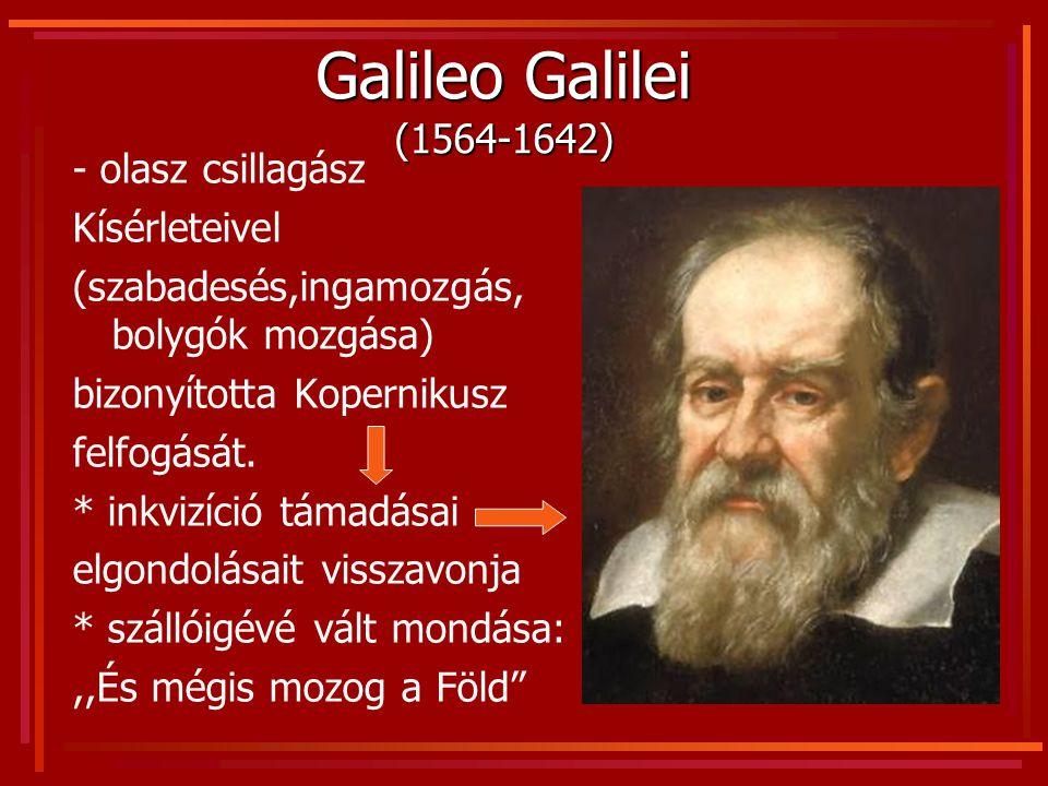 Galileo Galilei (1564-1642) - olasz csillagász Kísérleteivel (szabadesés,ingamozgás, bolygók mozgása) bizonyította Kopernikusz felfogását. * inkvizíci