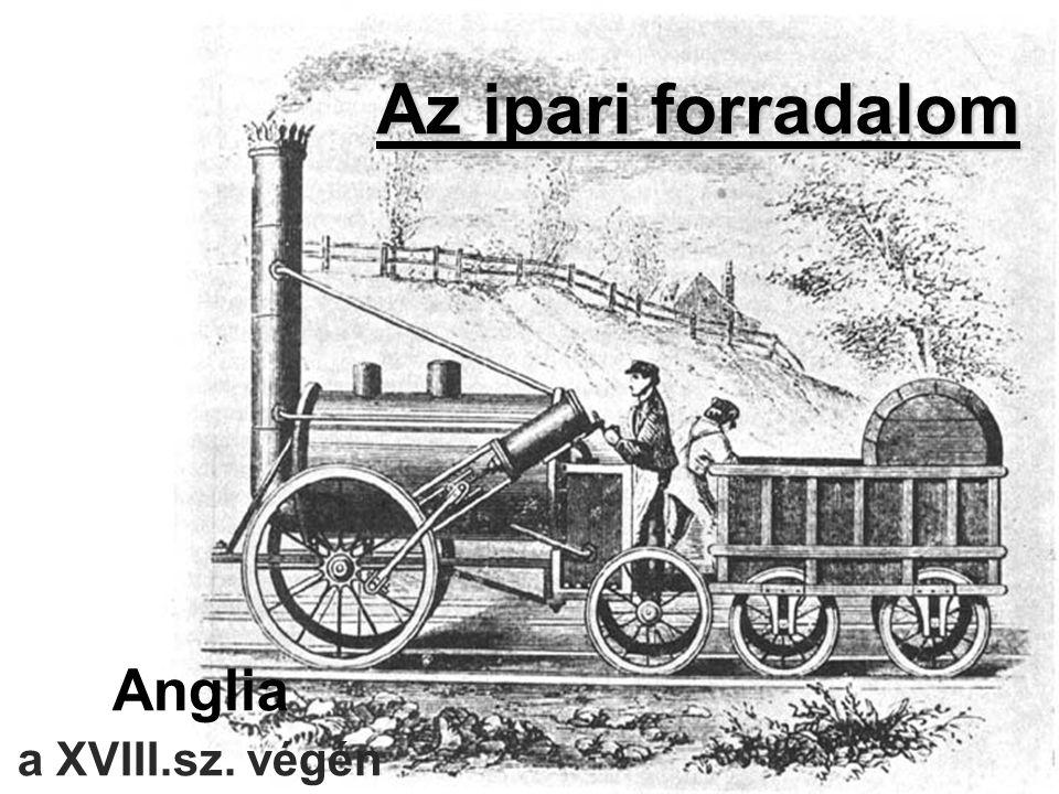 """Ipari forradalom jellemzői Kézműipart gyárakban folyó tömegtermelés váltja fel A termelés eszközei a gépek lettek A gőz a legfontosabb energiaforrás, a vas és a szén a legfontosabb alapanyagok Létrejöttek a gyárak: fő cél a profit maximalizálása Modern közlekedés: vasút, gőzhajó, makadám út Szabványosítás és gépgyártás: gépeken gyártani a gépeket (egységes méretek) » """"tőkés iparosodás"""