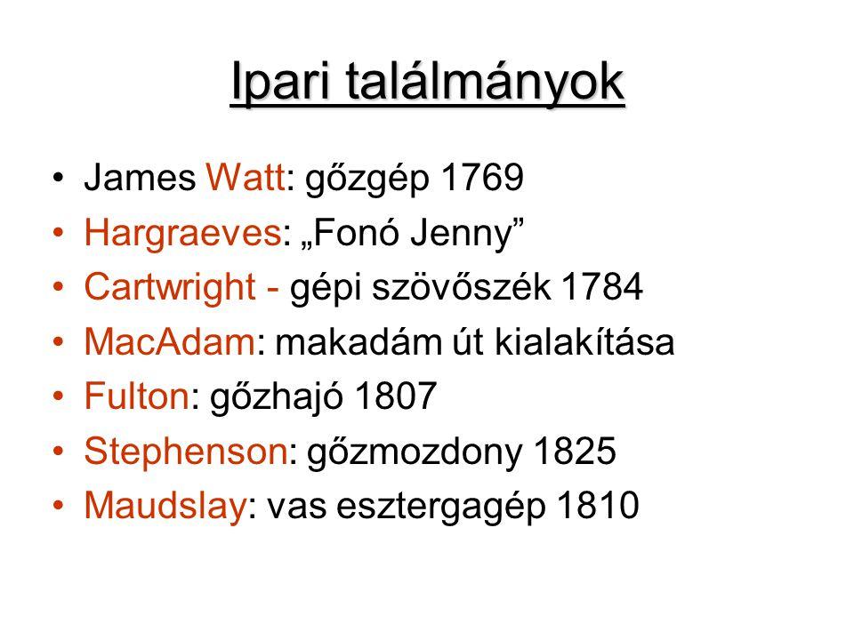 """Ipari találmányok James Watt: gőzgép 1769 Hargraeves: """"Fonó Jenny Cartwright - gépi szövőszék 1784 MacAdam: makadám út kialakítása Fulton: gőzhajó 1807 Stephenson: gőzmozdony 1825 Maudslay: vas esztergagép 1810"""