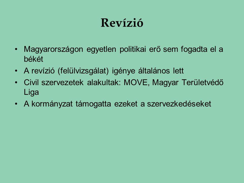 Revízió Magyarországon egyetlen politikai erő sem fogadta el a békét A revízió (felülvizsgálat) igénye általános lett Civil szervezetek alakultak: MOV