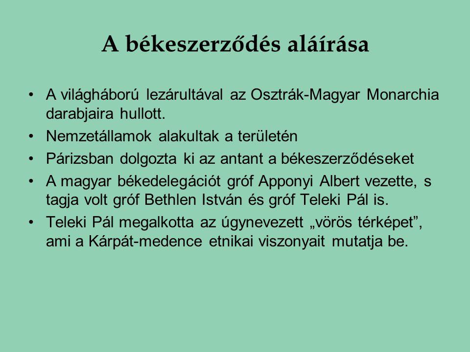 A békeszerződés aláírása A világháború lezárultával az Osztrák-Magyar Monarchia darabjaira hullott. Nemzetállamok alakultak a területén Párizsban dolg