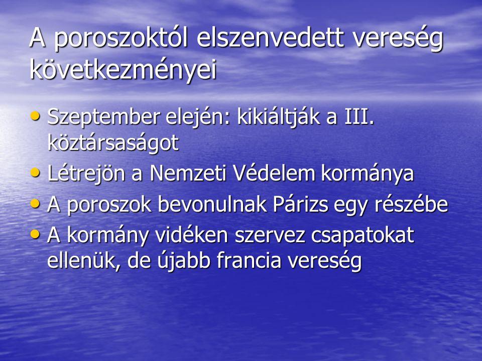 A poroszoktól elszenvedett vereség következményei Szeptember elején: kikiáltják a III. köztársaságot Szeptember elején: kikiáltják a III. köztársaságo
