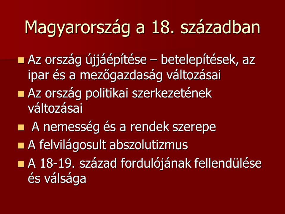 Magyarország a 18. században Az ország újjáépítése – betelepítések, az ipar és a mezőgazdaság változásai Az ország újjáépítése – betelepítések, az ipa