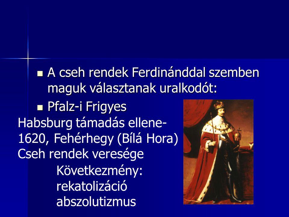 A cseh rendek Ferdinánddal szemben maguk választanak uralkodót: A cseh rendek Ferdinánddal szemben maguk választanak uralkodót: Pfalz-i Frigyes Pfalz-