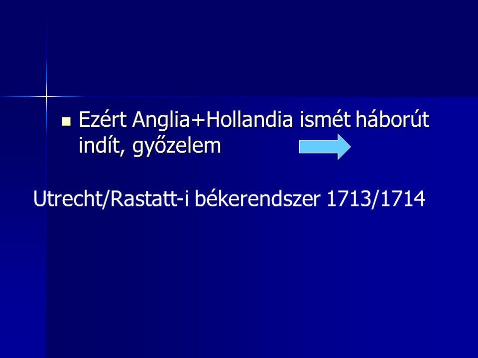 Ezért Anglia+Hollandia ismét háborút indít, győzelem Ezért Anglia+Hollandia ismét háborút indít, győzelem Utrecht/Rastatt-i békerendszer 1713/1714