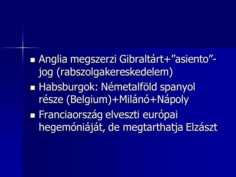 """Anglia megszerzi Gibraltárt+""""asiento""""- jog (rabszolgakereskedelem) Anglia megszerzi Gibraltárt+""""asiento""""- jog (rabszolgakereskedelem) Habsburgok: Néme"""