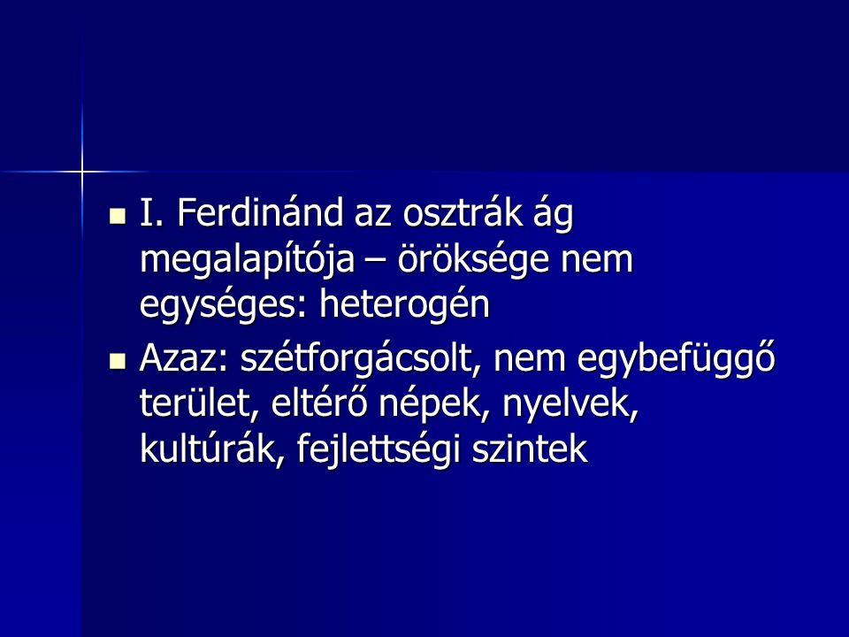 I. Ferdinánd az osztrák ág megalapítója – öröksége nem egységes: heterogén I. Ferdinánd az osztrák ág megalapítója – öröksége nem egységes: heterogén