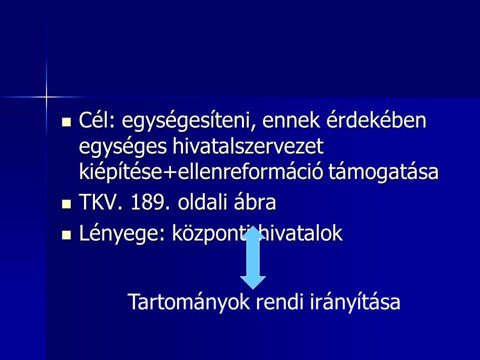 Cél: egységesíteni, ennek érdekében egységes hivatalszervezet kiépítése+ellenreformáció támogatása Cél: egységesíteni, ennek érdekében egységes hivata