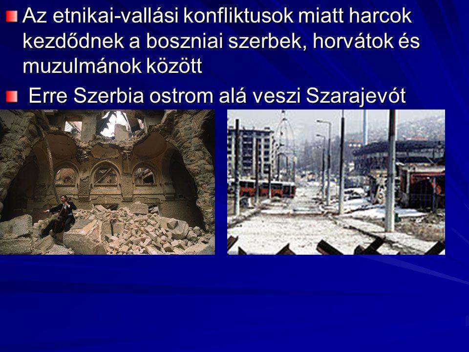 Az etnikai-vallási konfliktusok miatt harcok kezdődnek a boszniai szerbek, horvátok és muzulmánok között Erre Szerbia ostrom alá veszi Szarajevót (1993) Erre Szerbia ostrom alá veszi Szarajevót (1993)