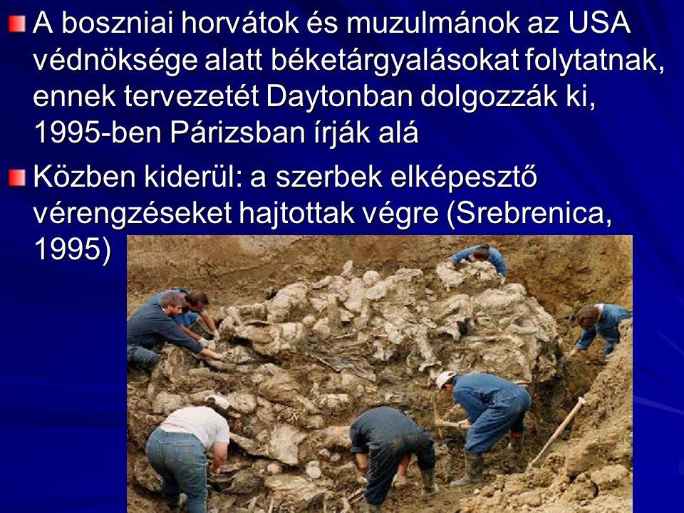 A boszniai horvátok és muzulmánok az USA védnöksége alatt béketárgyalásokat folytatnak, ennek tervezetét Daytonban dolgozzák ki, 1995-ben Párizsban írják alá Közben kiderül: a szerbek elképesztő vérengzéseket hajtottak végre (Srebrenica, 1995)
