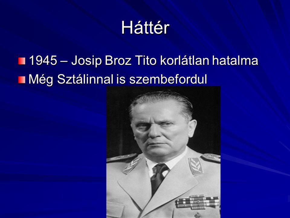 Akkor Jugoszlávia egységes – bár rendkívül heterogén ország A szerb fölény mindig megvolt 1980-ban meghal – nyilvánvaló volt, hogy hozzá hasonló politikus, aki az egész országot összefogja, nincs 1987-ben feltűnik Slobodan MILOSEVIC – a Szerb köztársaság elnöke lesz (1989), és önálló szocialista pártot alapít
