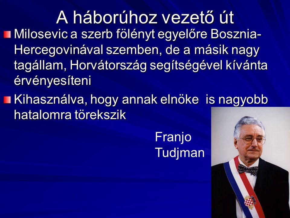 A háborúhoz vezető út Milosevic a szerb fölényt egyelőre Bosznia- Hercegovinával szemben, de a másik nagy tagállam, Horvátország segítségével kívánta érvényesíteni Kihasználva, hogy annak elnöke is nagyobb hatalomra törekszik Franjo Tudjman