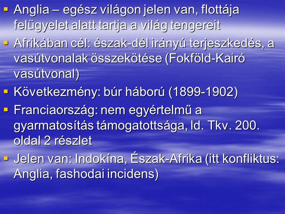 """ Németország: mivel """"fiatal nagyhatalom – későn kapcsolódik be a gyarmatosításba  Ezért: kevés gyarmathoz jut, másrészt: egymástól távoli területeken  További gond: gyarmataihoz csak a terjeszkedését rossz szemmel figyelő angol flotta által uralt tengereken jut el  Togo, Délnyugat-Afrika, Kamerun, Új- Guinea  Olaszország: szintén fiatal állam, későn kapcsolódik be, területek Afrikában (Líbia, Etiópia, Eritrea)"""