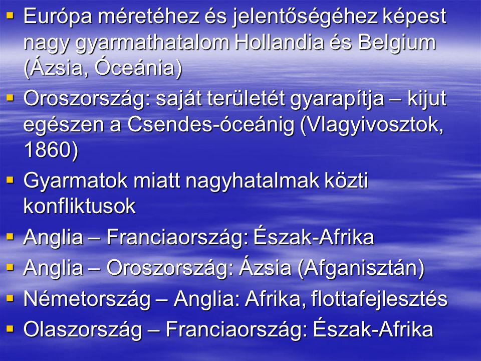  Emellett konfliktusok európai ügyek miatt: Franciaország – Németország (francia revansizmus!)+konkrét területi igény: Elzász-Lotharingia  Oroszország – OM: Balkán