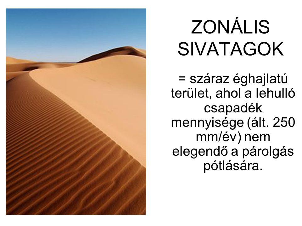 ZONÁLIS SIVATAGOK = száraz éghajlatú terület, ahol a lehulló csapadék mennyisége (ált.