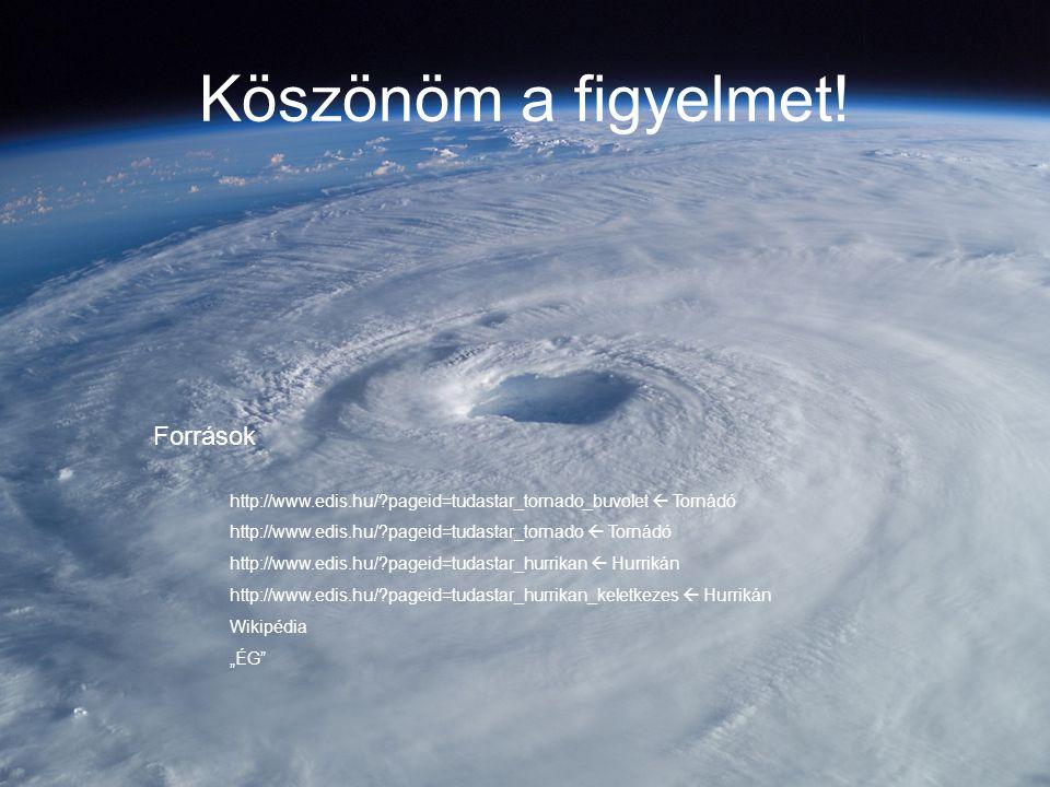 Köszönöm a figyelmet! Források http://www.edis.hu/?pageid=tudastar_tornado_buvolet  Tornádó http://www.edis.hu/?pageid=tudastar_tornado  Tornádó htt