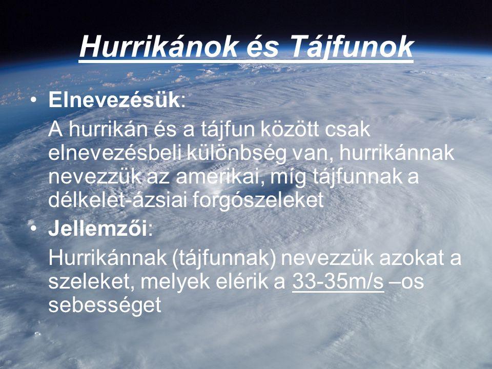 Hurrikánok és Tájfunok Elnevezésük: A hurrikán és a tájfun között csak elnevezésbeli különbség van, hurrikánnak nevezzük az amerikai, míg tájfunnak a