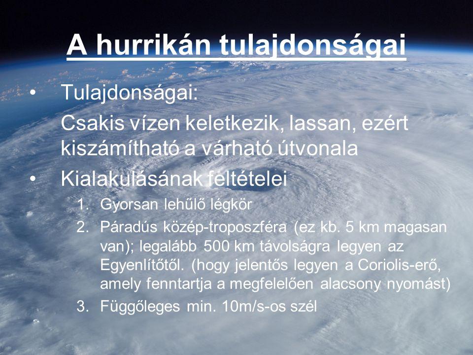 A hurrikán tulajdonságai Tulajdonságai: Csakis vízen keletkezik, lassan, ezért kiszámítható a várható útvonala Kialakulásának feltételei 1.Gyorsan leh