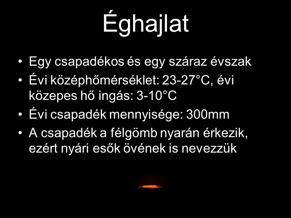 Egy csapadékos és egy száraz évszak Évi középhőmérséklet: 23-27°C, évi közepes hő ingás: 3-10°C Évi csapadék mennyisége: 300mm A csapadék a félgömb ny