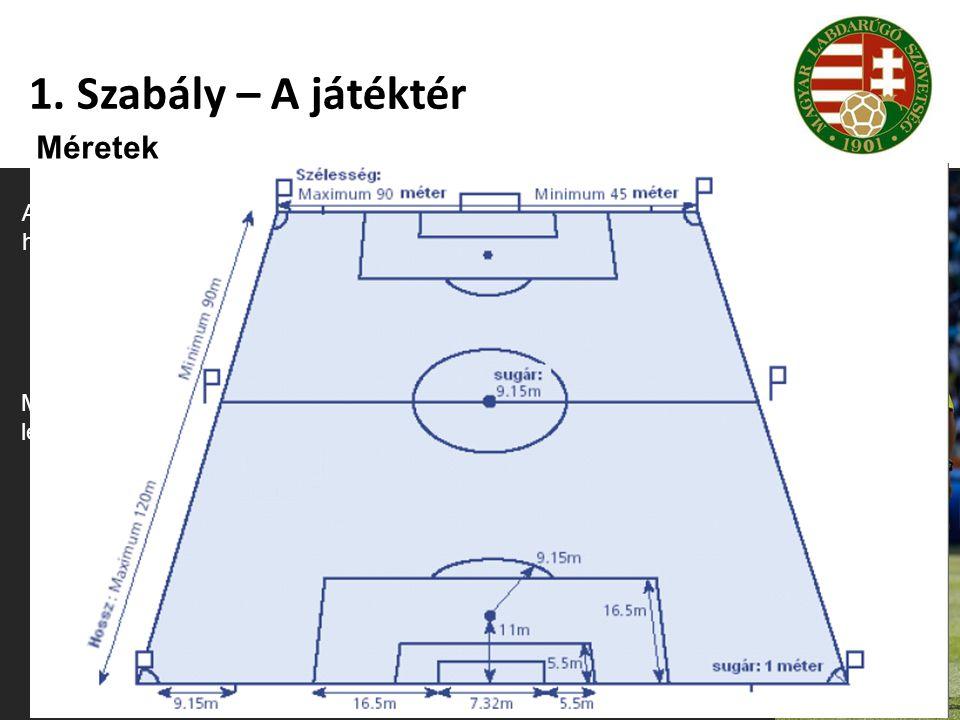 1. Szabály – A játéktér Méretek Az oldalvonal hosszának nagyobbnak kell lennie a kapuvonal hosszánál. Hosszúság (oldalvonal): 90-120 m Szélesség (kapu