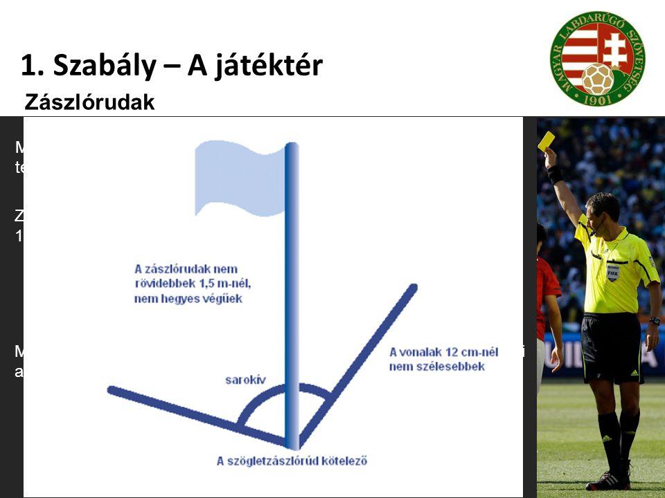 1. Szabály – A játéktér Zászlórudak Mindegyik sarokban egy 1,5 m-nél nem rövidebb, nem hegyes végű tetején zászlóval ellátott zászlórudat kell elhelye