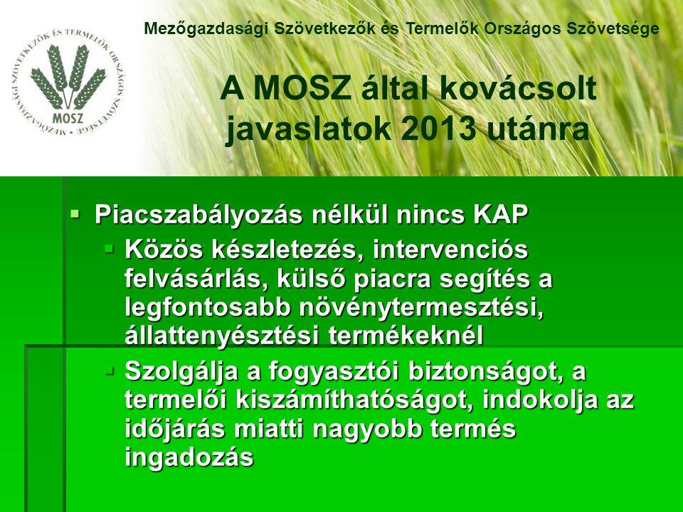  Piacszabályozás nélkül nincs KAP  Közös készletezés, intervenciós felvásárlás, külső piacra segítés a legfontosabb növénytermesztési, állattenyésztési termékeknél  Szolgálja a fogyasztói biztonságot, a termelői kiszámíthatóságot, indokolja az időjárás miatti nagyobb termés ingadozás Mezőgazdasági Szövetkezők és Termelők Országos Szövetsége A MOSZ által kovácsolt javaslatok 2013 utánra