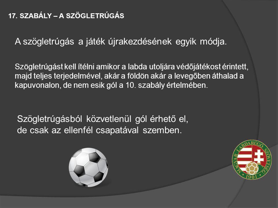 17.SZABÁLY – A SZÖGLETRÚGÁS A szögletrúgás a játék újrakezdésének egyik módja.