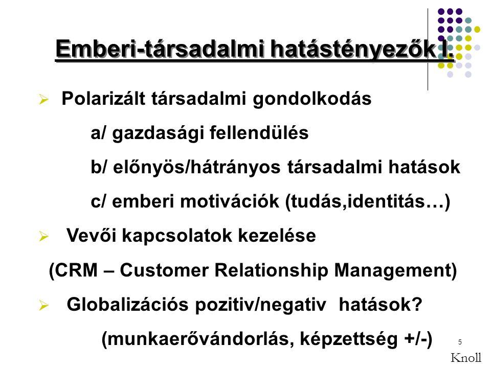 5  Polarizált társadalmi gondolkodás a/ gazdasági fellendülés b/ előnyös/hátrányos társadalmi hatások c/ emberi motivációk (tudás,identitás…)  Vevői kapcsolatok kezelése (CRM – Customer Relationship Management)  Globalizációs pozitiv/negativ hatások.