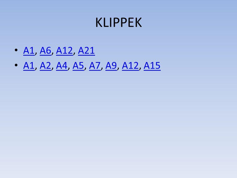 KLIPPEK A1, A6, A12, A21 A1A6A12A21 A1, A2, A4, A5, A7, A9, A12, A15 A1A2A4A5A7A9A12A15