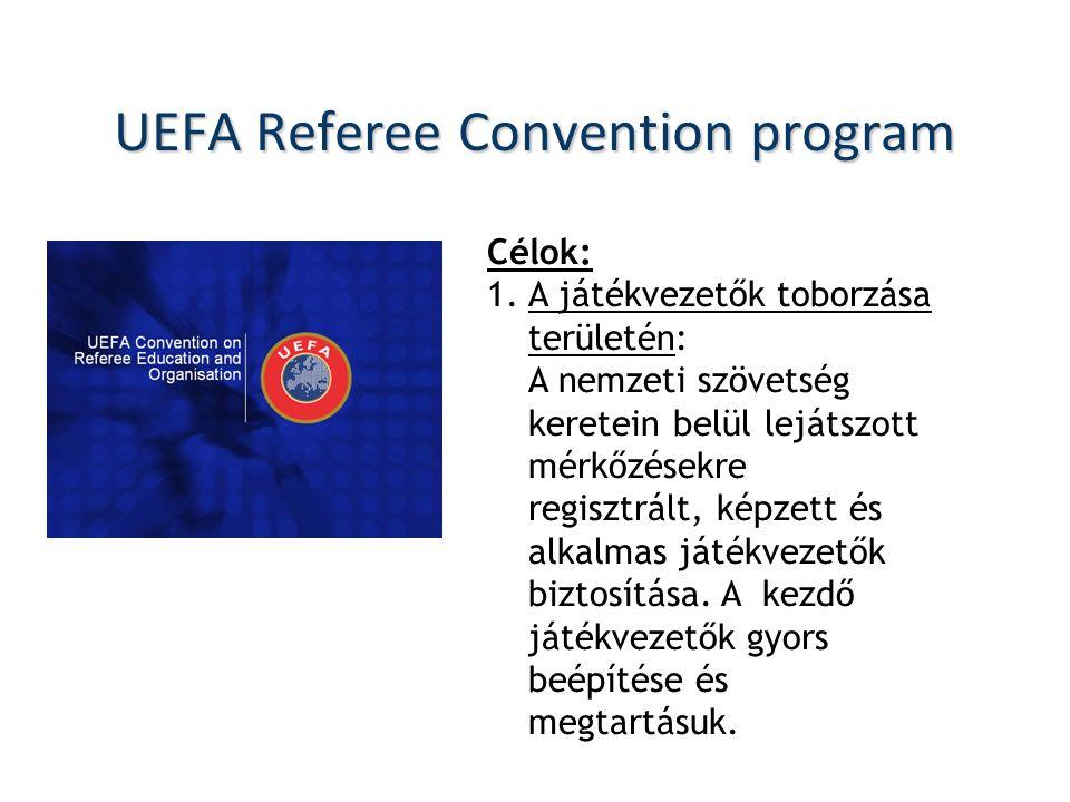 UEFA Referee Convention program Célok: 1.A játékvezetők toborzása területén: A nemzeti szövetség keretein belül lejátszott mérkőzésekre regisztrált, képzett és alkalmas játékvezetők biztosítása.