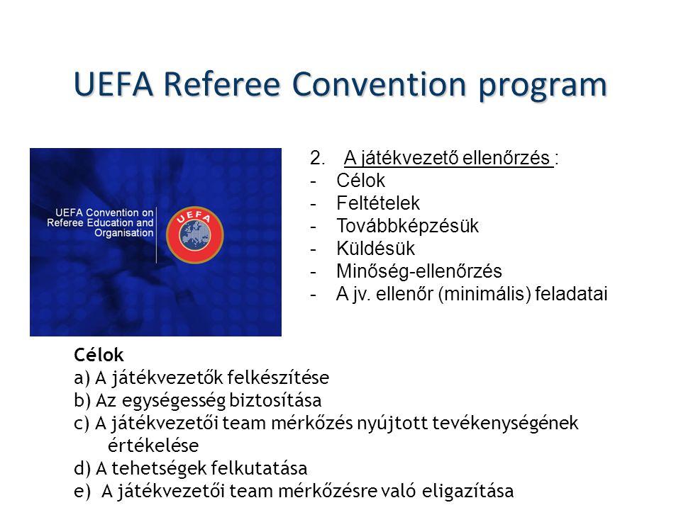 UEFA Referee Convention program 2.A játékvezető ellenőrzés : -Célok -Feltételek -Továbbképzésük -Küldésük -Minőség-ellenőrzés -A jv.