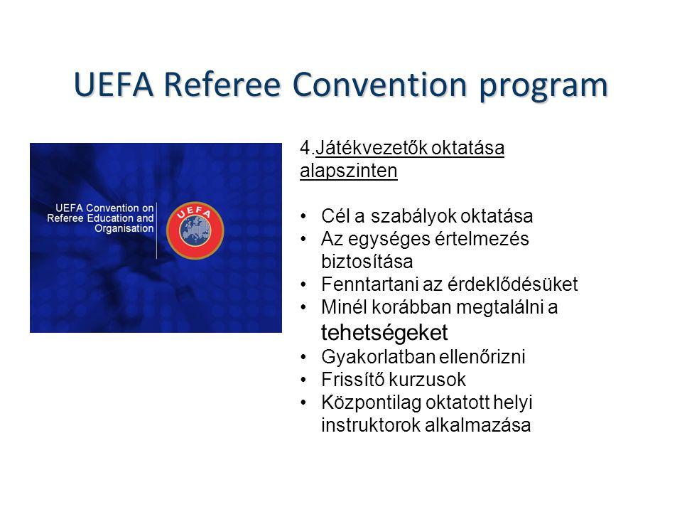 UEFA Referee Convention program 4.Játékvezetők oktatása alapszinten Cél a szabályok oktatása Az egységes értelmezés biztosítása Fenntartani az érdeklődésüket Minél korábban megtalálni a tehetségeket Gyakorlatban ellenőrizni Frissítő kurzusok Központilag oktatott helyi instruktorok alkalmazása
