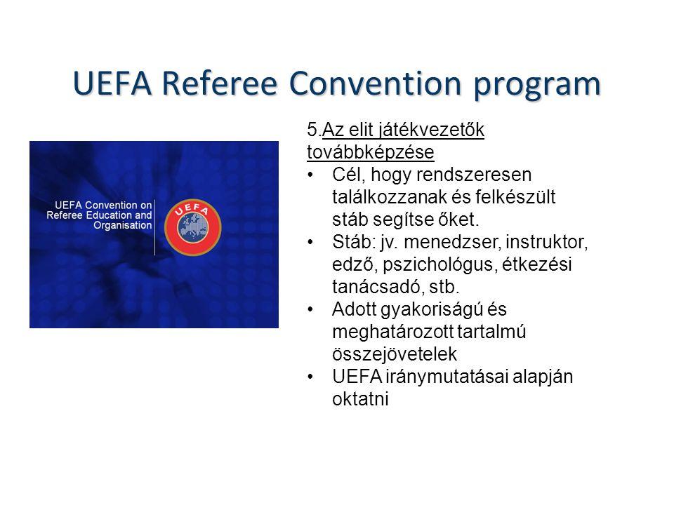 UEFA Referee Convention program 5.Az elit játékvezetők továbbképzése Cél, hogy rendszeresen találkozzanak és felkészült stáb segítse őket.