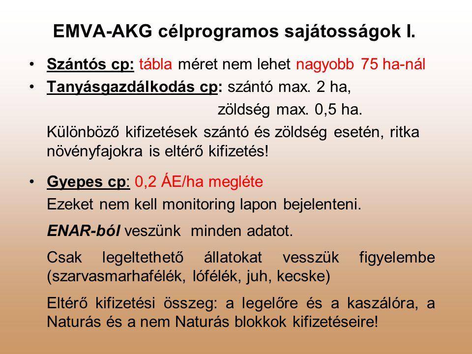 EMVA-AKG célprogramos sajátosságok I.