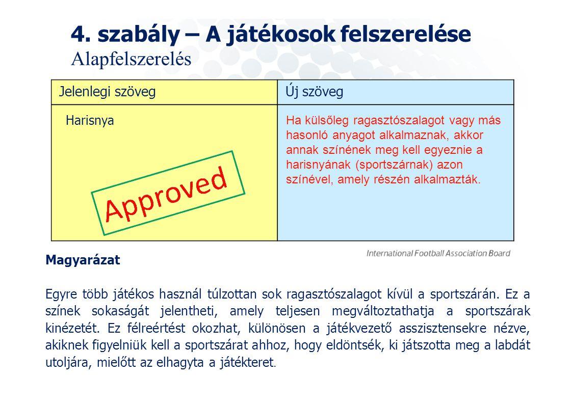 4. szabály – A játékosok felszerelése Alapfelszerelés Harisnya Ha külsőleg ragasztószalagot vagy más hasonló anyagot alkalmaznak, akkor annak színének